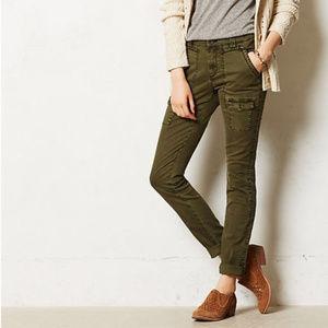 Anthropologie Tiri Skinny Cargo Pants Olive Green